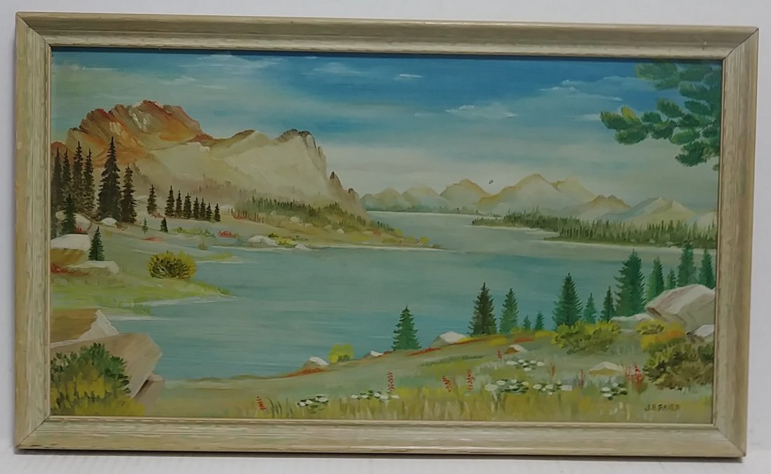 Signed Original River Oil Painting on Card Board