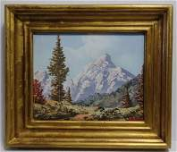 Vintage Alpine Mountain Oil Painting Signed Haller