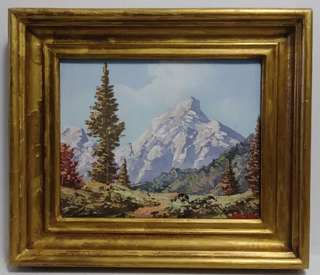 Vintage Alpine Mountain Oil Painting Signed Haller