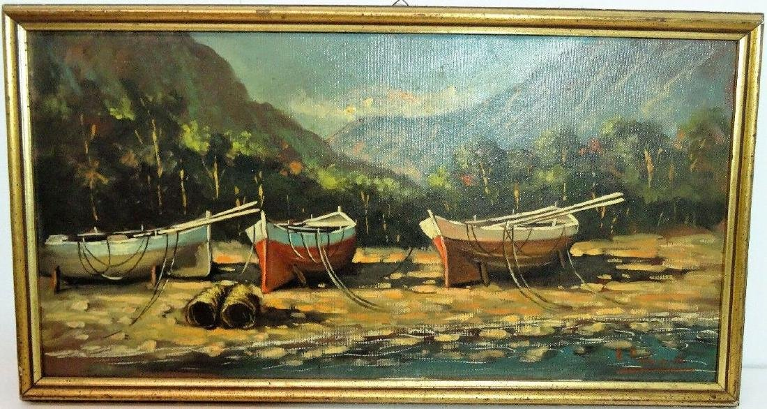 Old Marina Boat Oil Painting on Canvas Signed