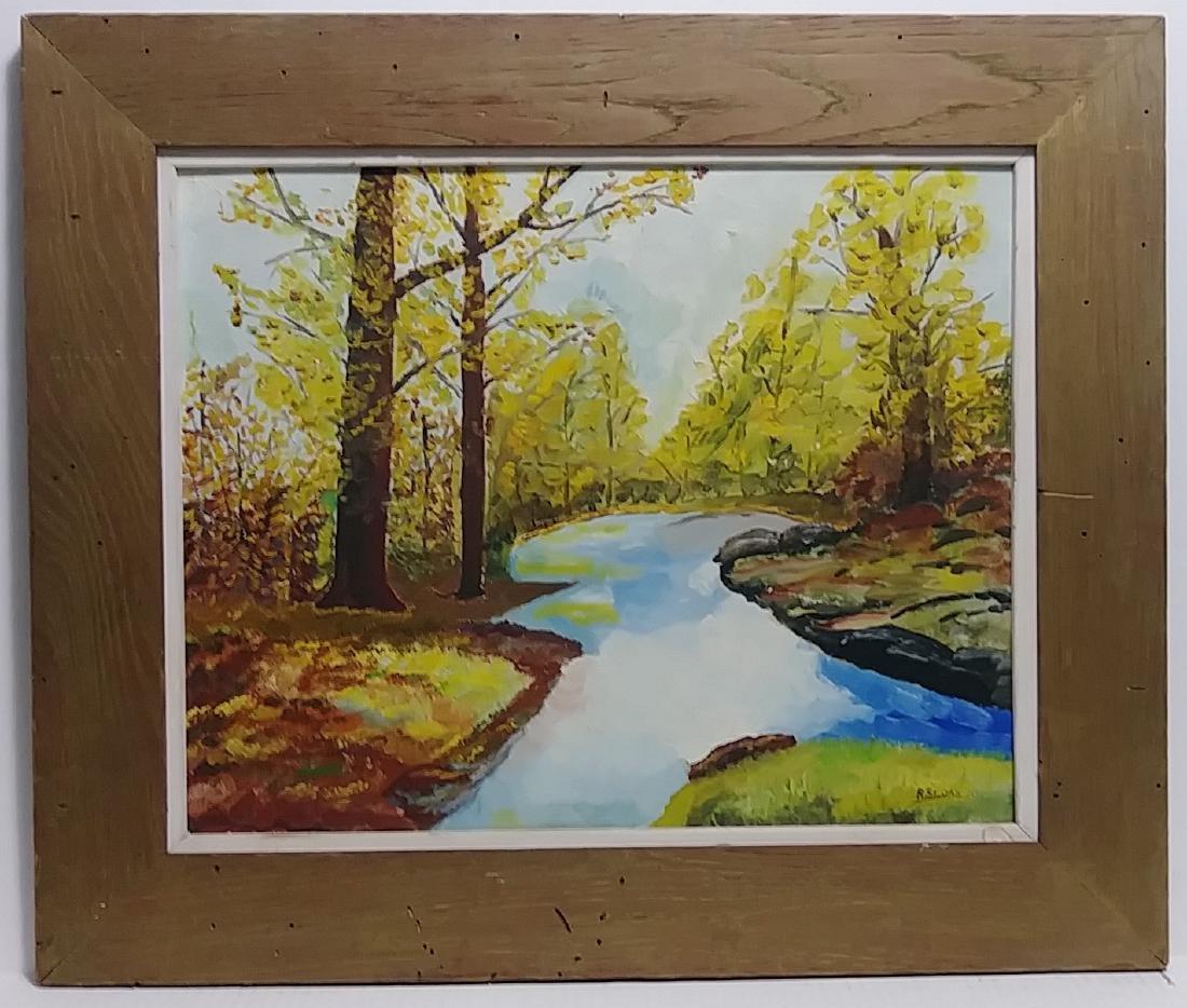 Original R. Sloan Signed Vintage Landscape Oil Painting - 2