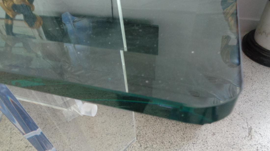 VINTAGE LUCITE MID-CENTURY MODERN GLASS TOP CONSOLE / S - 2
