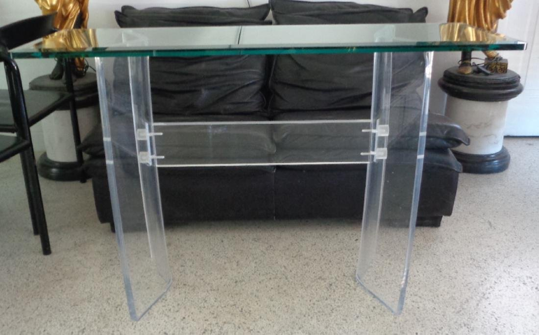 VINTAGE LUCITE MID-CENTURY MODERN GLASS TOP CONSOLE / S - 4