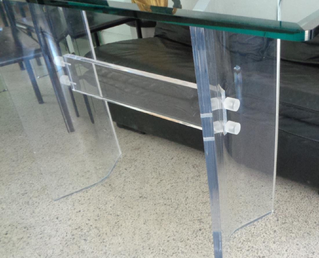 VINTAGE LUCITE MID-CENTURY MODERN GLASS TOP CONSOLE / S - 5