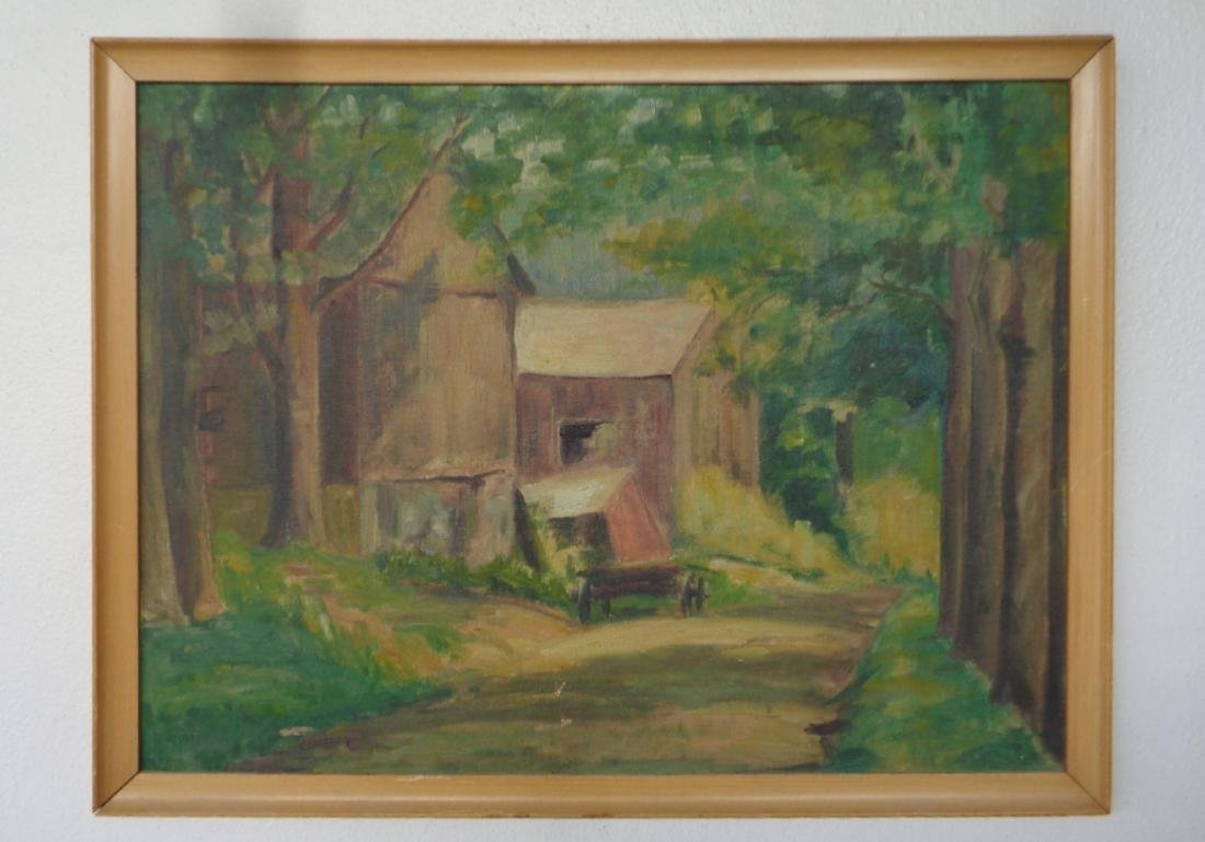 Vintage American Impressionism Oil Painting on Canvas B