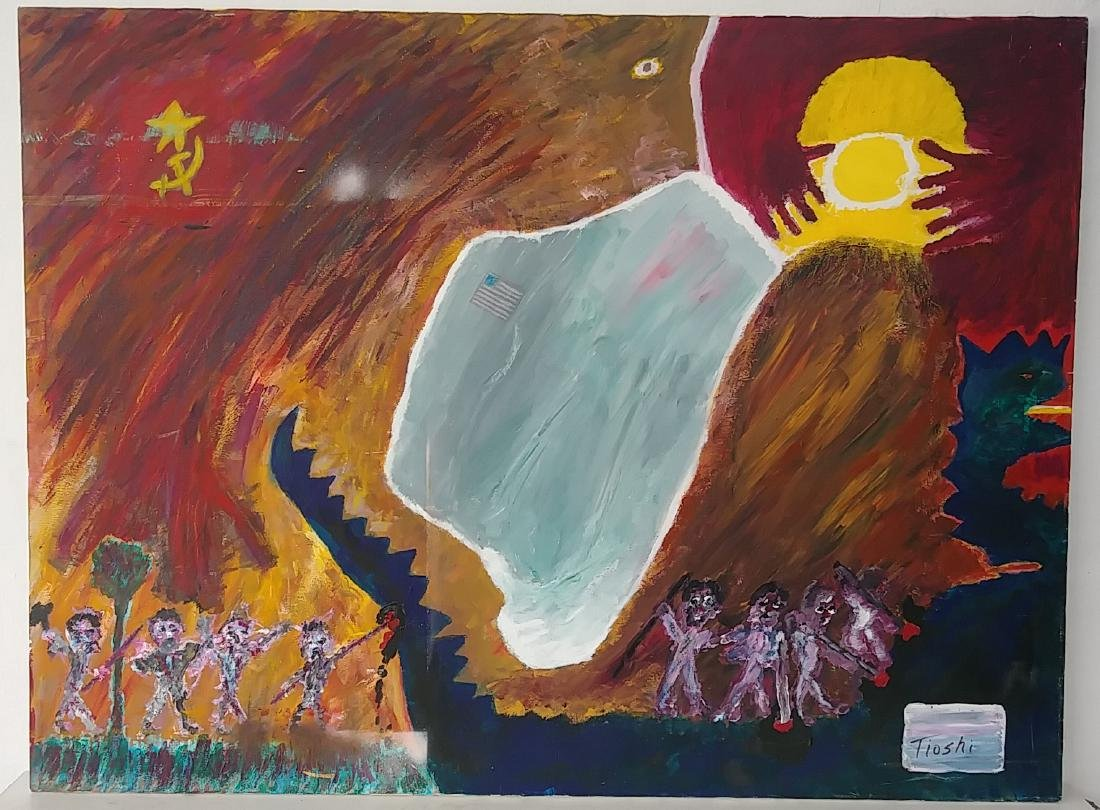 Rare Signed Neo Expressionism Surreal Oil Painting