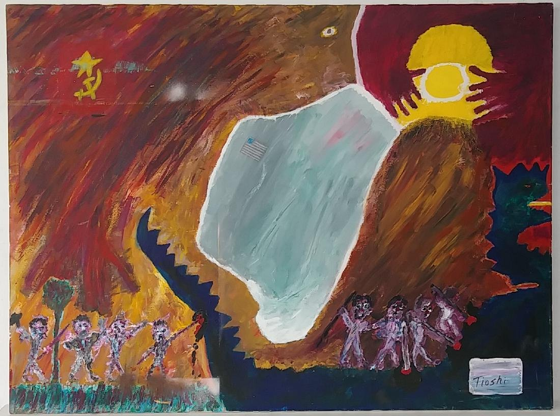 Rare Signed Neo Expressionism Surreal Oil Painting - 2