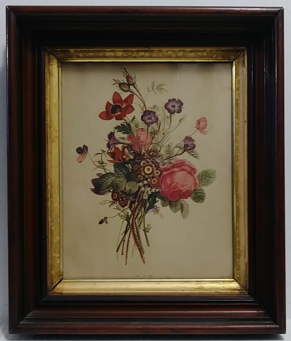 Antique Frame. Flower Print. Period Glass