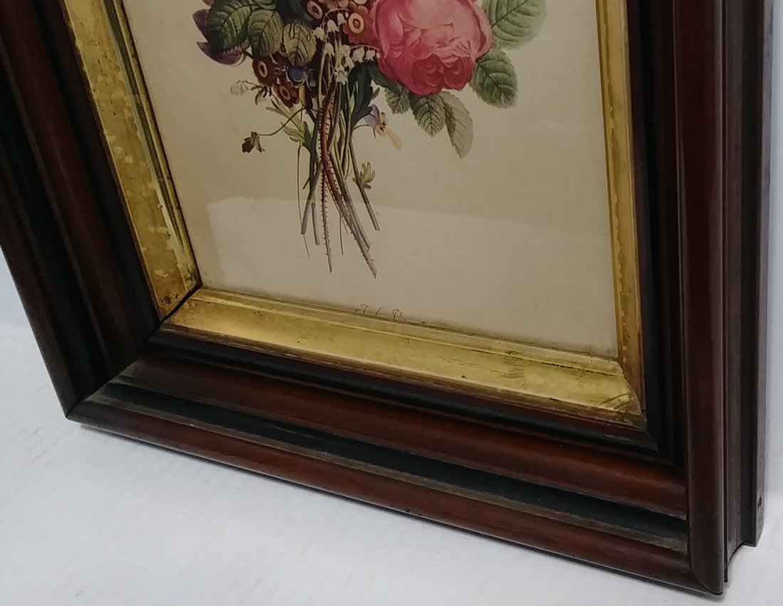 Antique Frame. Flower Print. Period Glass - 2