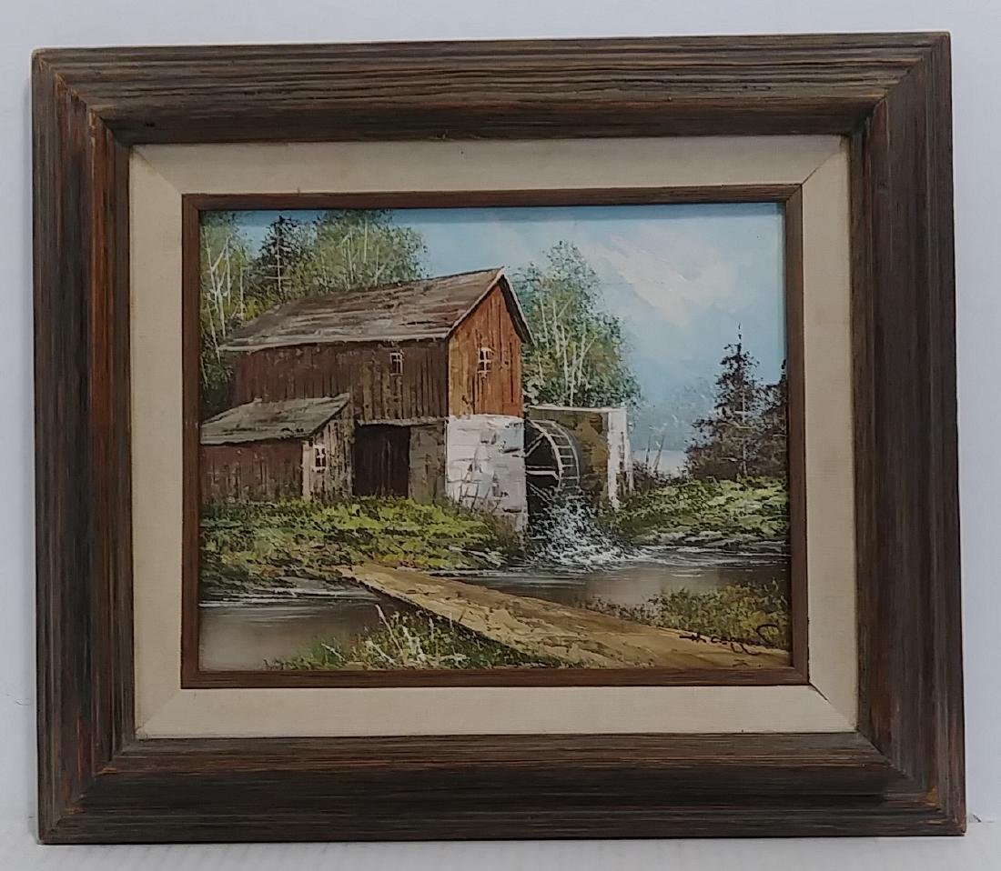 Signed Oil Painting Plein Air Barn landscape