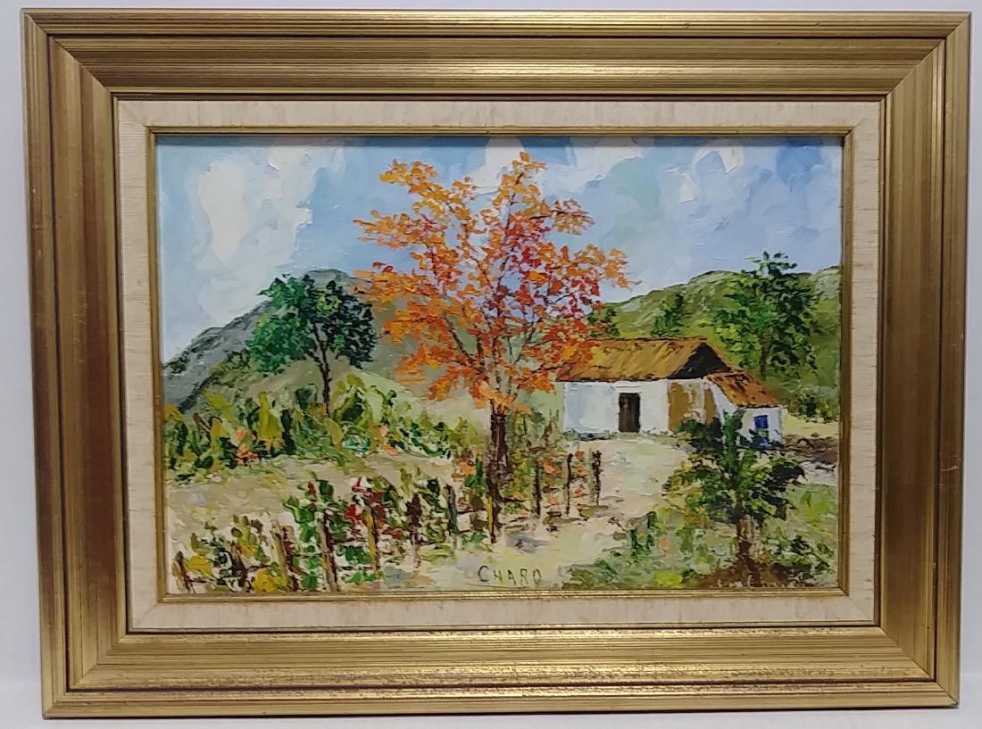 Vintage Original Wood Framed Landscape Oil-Canvas Signe