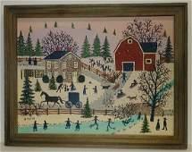Original Susan Plake Folk Art Painting on Masonite