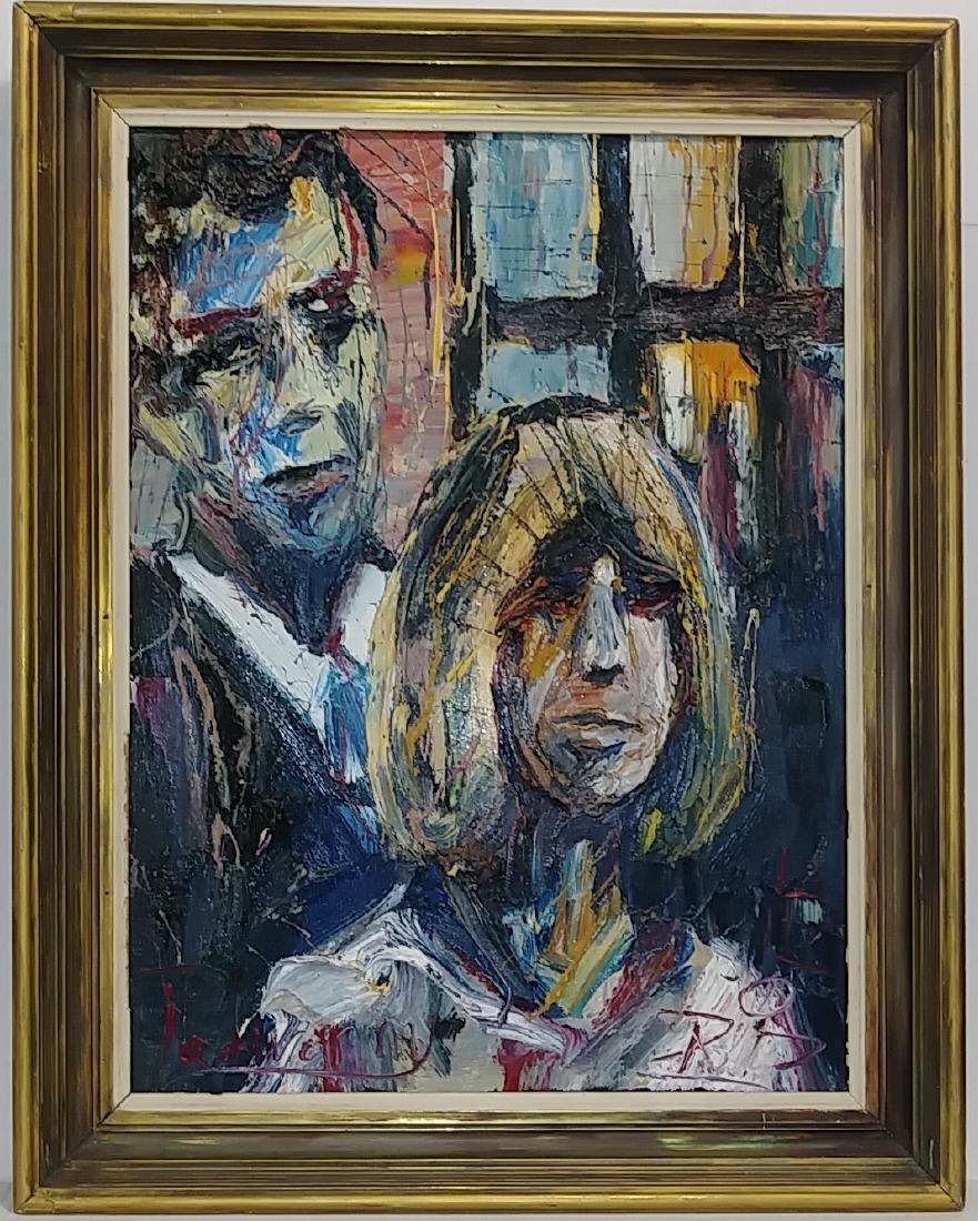 Extra Thick impasto Figurative Oil Painting Signed. Mea