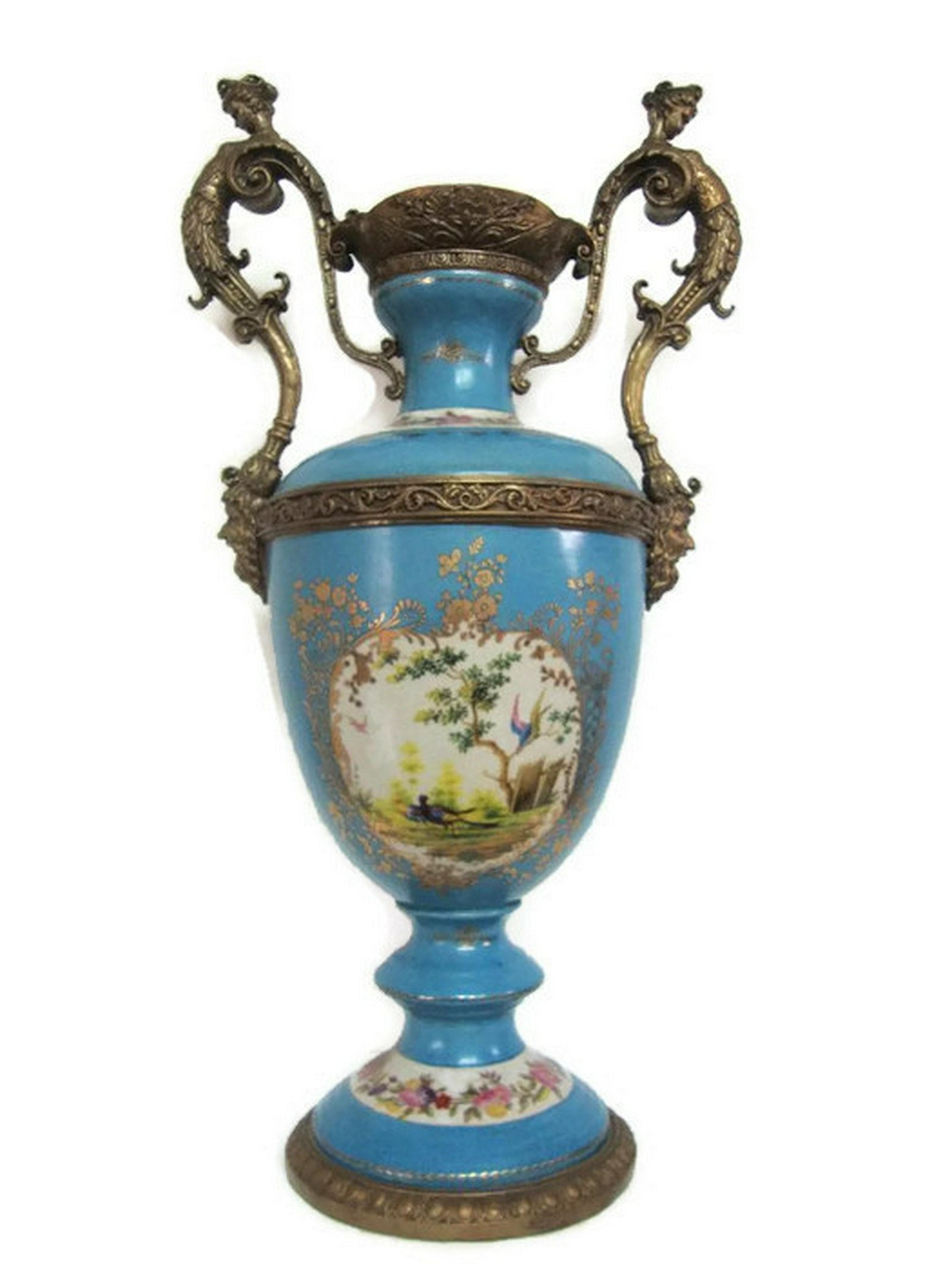 Blue Turquoise Porcelain Vase Lady Handle Bronze Mounts