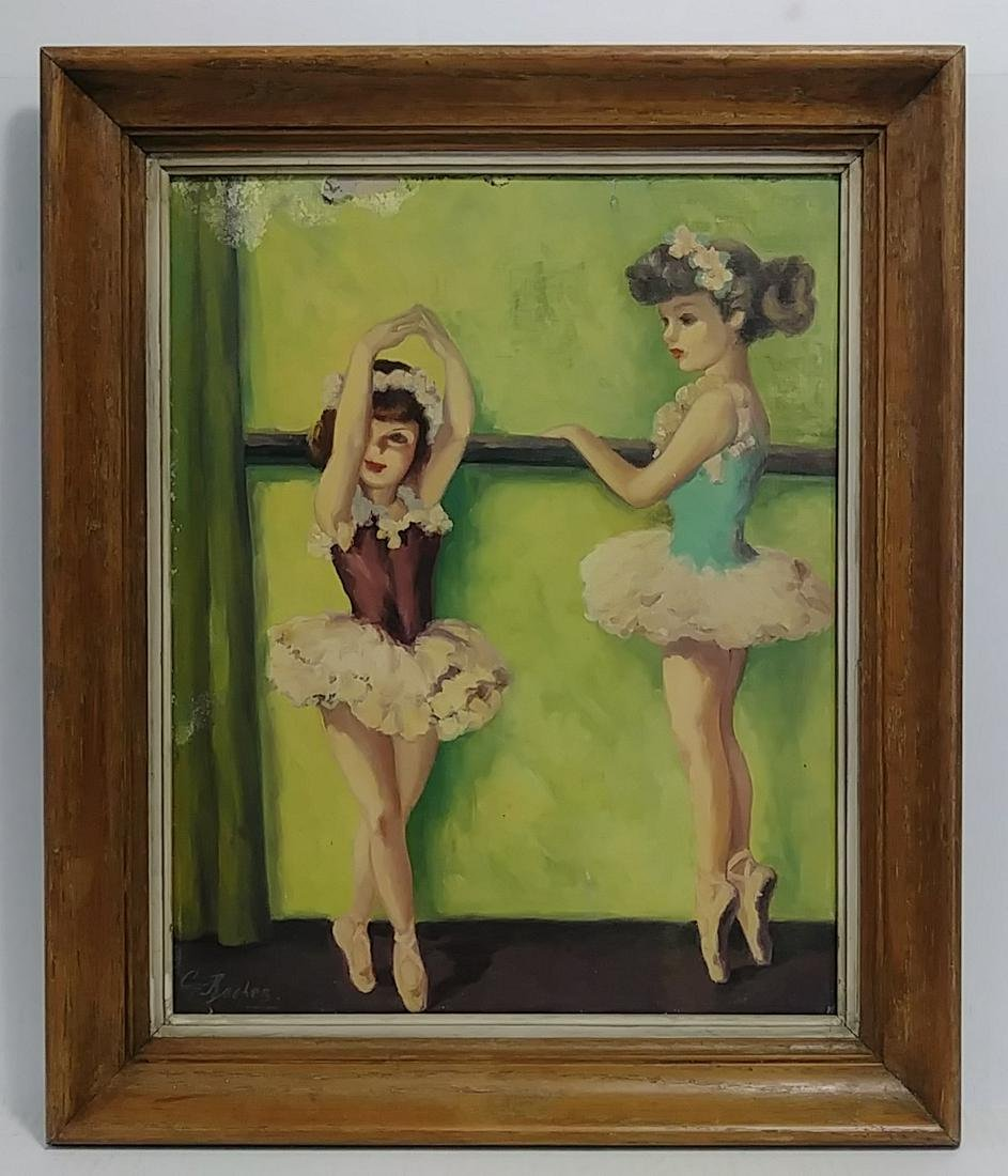 Antique Sig Rocher (French) Ballet Dancer Oil Painting