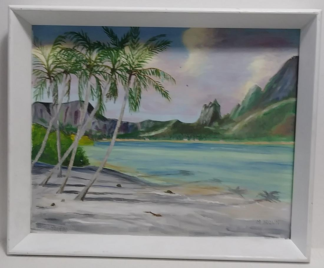 M. Brown Signed Seascape Oil Painting on Canvas