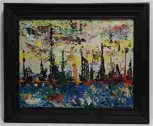 Original Abstract Mixed Media Painting Cal Impressionis
