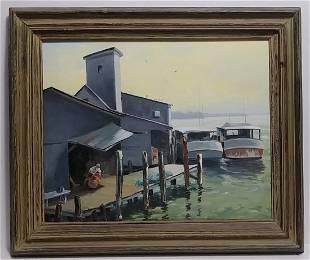 Vintage 1980 Regionalism Oil Painting Fisherman on Dock