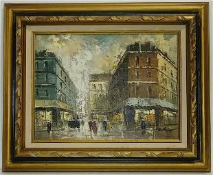 Signed Vintage Paris Street Framed Painting on Canvas