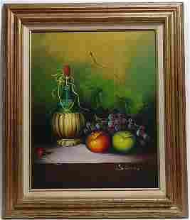 Fruit Still Life Oil Painting on Canvas Signed Simon