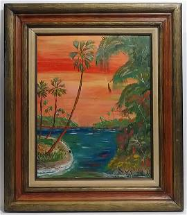 Indian River Signed Oil Painting on Massonite