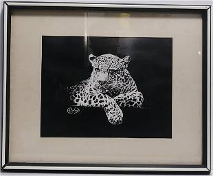 Vintage Tiger Print lithograph EL Wood Signed