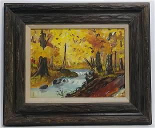 Original 1971 RPC Oil Painting Ten Mile NY Riverscape
