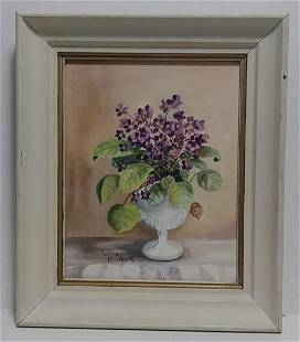 Original Signed Bouque of Flower Oil Painting on Card