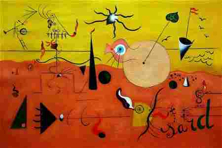 JOAN MIRO ABSTRACT EXPRESIONISM OIL PAINTING ON CANVAS