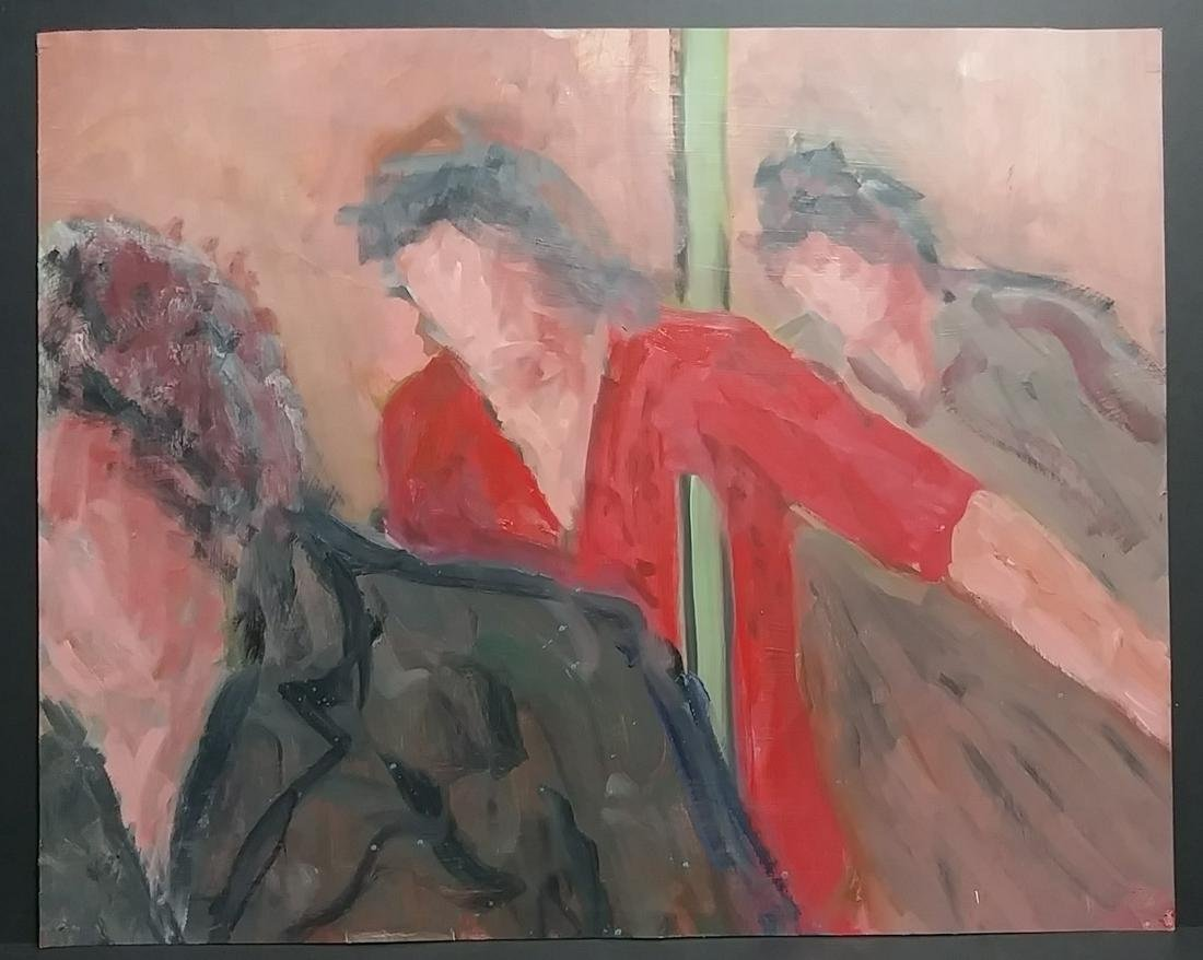 J Tworkov Abstract Figurative Oil Painting on Paper