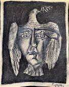 Man Head/Dove Charcoal and Graphite Painted on Paper
