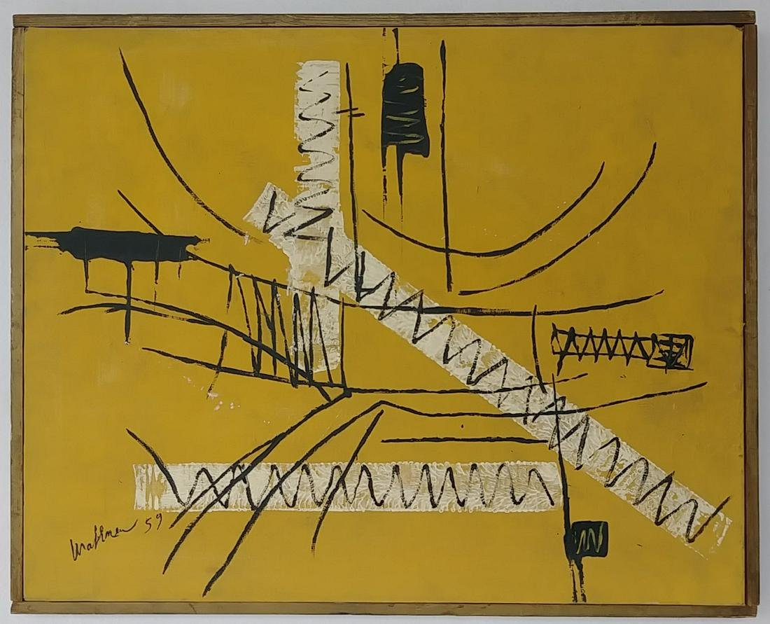 Signed Mathieue 20th Century Modern Painting on Canvas.