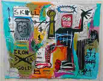 X Large Jean Michel-Basquiat NY Art Painting Manhattan