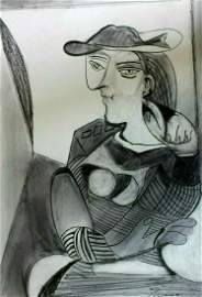 Abstract Picasso Woman Drawing Portrait.