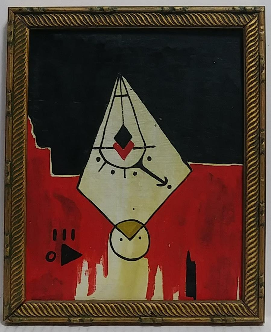 Rare Framed Abstract Painting on Cardboard