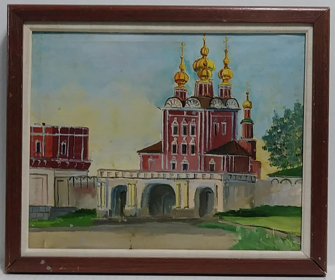 Vintage Framed Russian School Oil Painting on Canvas Si