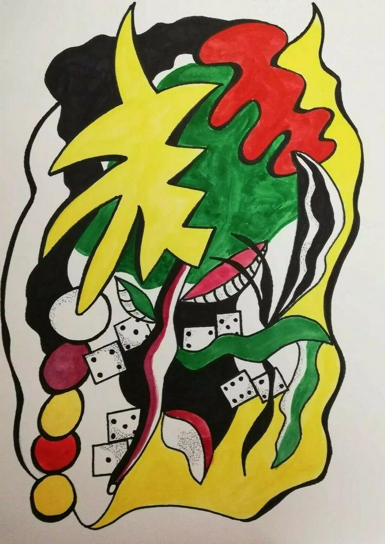 Neo Expressionist Leger Art Painting Watercolor-Ink Mix