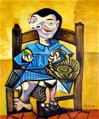 After Pablo Picasso Abstract Oil Painting
