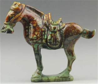 Antique Dynasty Horse Chinese Natural Jade Hand-Carved