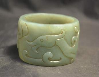 Antique Carved Chinese Sinking Jade Powerful Swaying