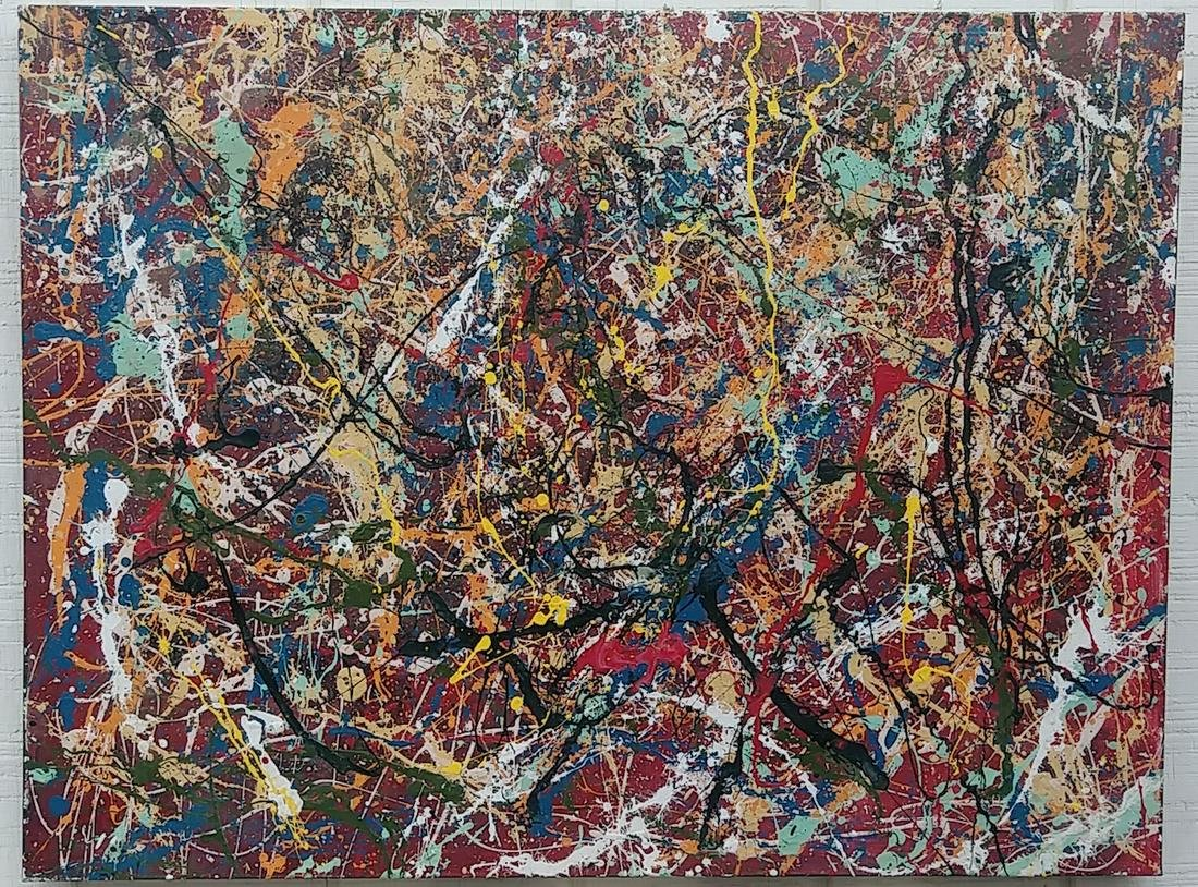 Jackson Pollock Framed Contemporary Abstract Painting