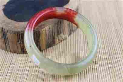 Old Natural Jade Red Blood Carved Bangle Bracelet