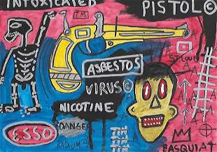 Asbestos NY Expressionist Painting Mixed media on Paper
