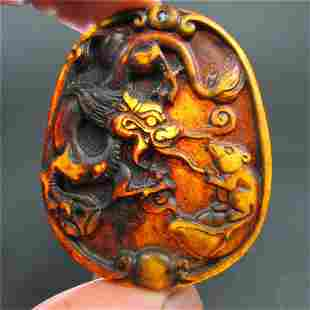 Antique Chinese Carved Natural Jade Dragon Pendant
