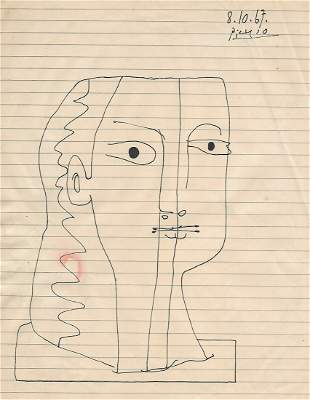 Picasso Drawing Signed.Old Mixed Media on Paper Figure