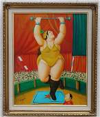 Circus Woman Botero Oil Painting on Canvas Framed
