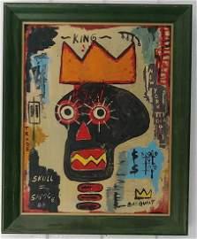 Jean-Michel Basquiat Painting on Cardboard