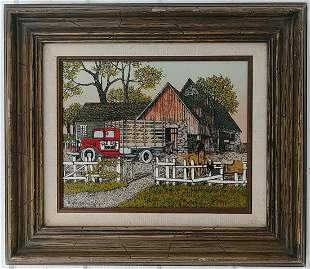 Red Oak Rruck Art Painting Framed. Painting Size: 8 x 1