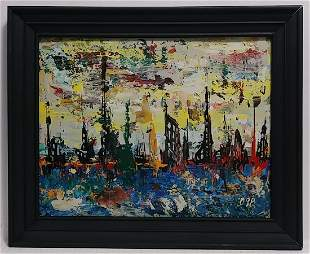 Original Abstract Mixed Media Painting Cal Impressionis