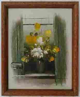 Abstract Flower Signed  Oil Painting on Canvas Framed